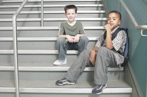 Kids in stairs